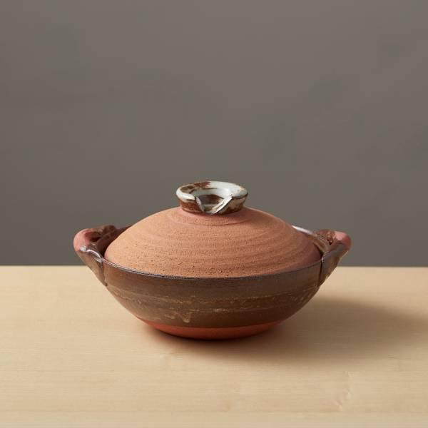日本萬古燒-和風紅土京鍋6號(0.6L) 日本,原裝進口,陶鍋,土鍋,主婦必備,直火,遠紅外線,保留原味,多用,蓄熱,節能