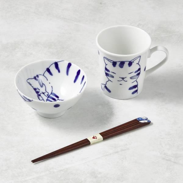 日本澤藍美濃燒 - 日常杯碗禮盒組-附筷(3件式)-虎貓君 陶杯,日本製,食器,手工,檢驗合格,貓