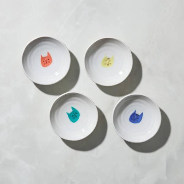 日本晴九谷燒 - 貓臉小盤(4入組) ★ 全部日本原裝精緻禮盒,送禮適宜