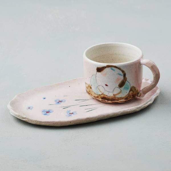 吳仲宗|胖太太系列 - 手做咖啡杯組 - 妃紅粉 (兩件式) 陶瓷杯;茶杯;咖啡杯;馬克杯;手繪;三芝藝術家