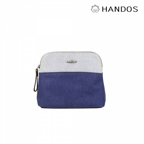 HANDOS|Amy March 雙色織線帆布化妝包(3色) 零錢包,帆布,真皮,設計師,台灣設計,訂製五金,植鞣皮革