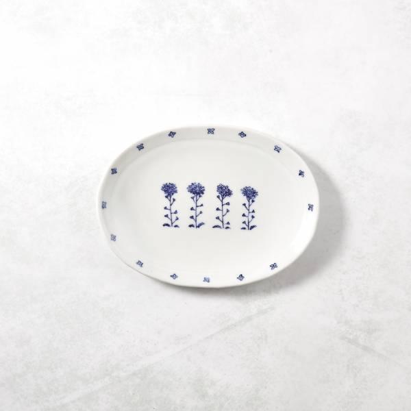 日本設計師系列 - 手捏陶 - 花叢橢圓淺盤 手捏,手作,職人,日本製,陶器,食器