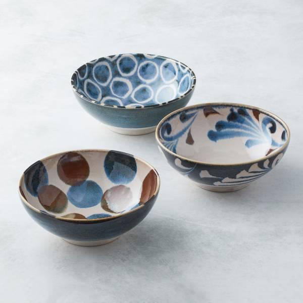 日本AWASAKA美濃燒- 筆青釉繪大碗組(3件式) 日本,原裝進口,丼碗,拉麵碗,沙拉碗,湯麵碗