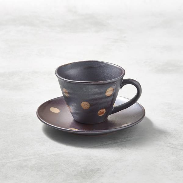 日本KOYO美濃燒- 寬口咖啡杯碟組 - 紫羊羹白玉 ★ 日本進口品質保證,檢驗合格餐具