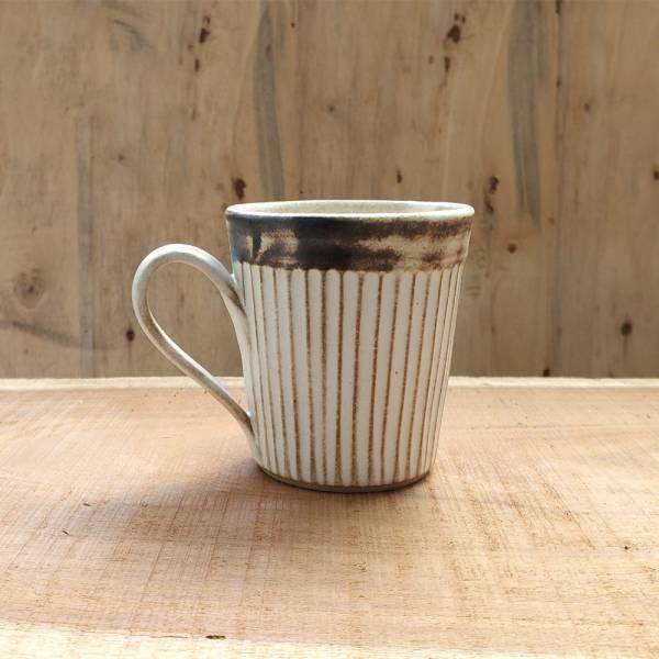 日本窯元益子燒 - 粉引燻緣紋馬克杯