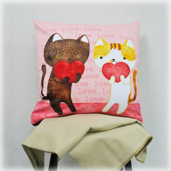 剪刀兔本鋪–抱枕套–情人貓 枕頭套、寢具、可愛童趣