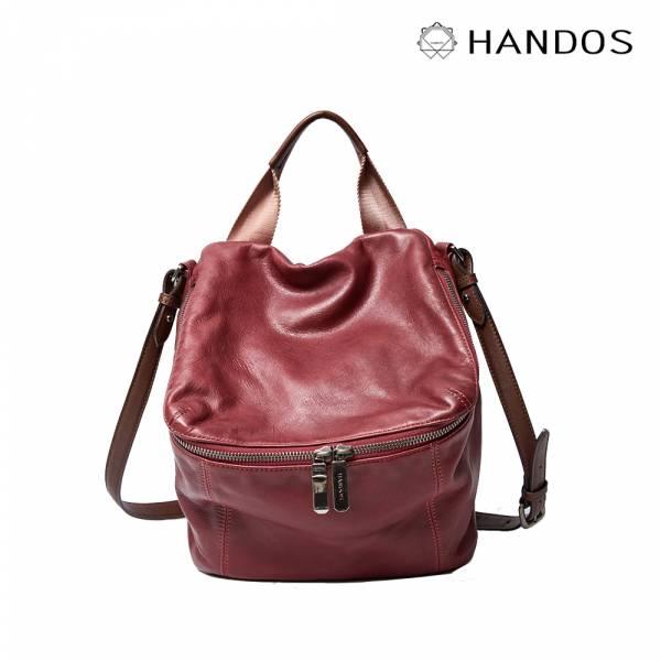 HANDOS|New Pimm's 輕便羊皮休閒肩背包 - 紫紅 真皮,設計師,台灣設計,訂製五金,植鞣皮革