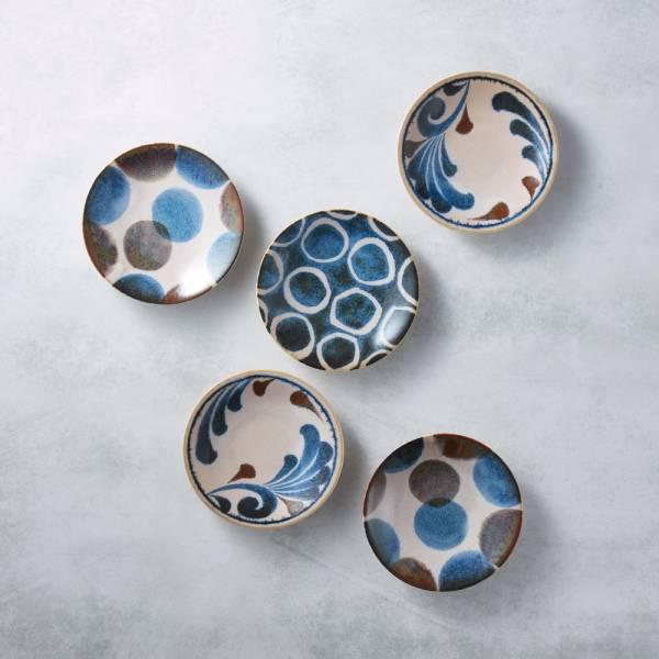 日本AWASAKA美濃燒- 筆青釉繪小餐盤組(5件式)  日本,原裝進口,點心盤,小菜碟