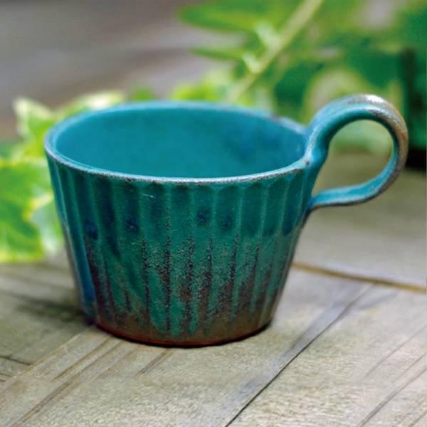 日本窯元益子燒 - 青綠燻刻紋提耳杯