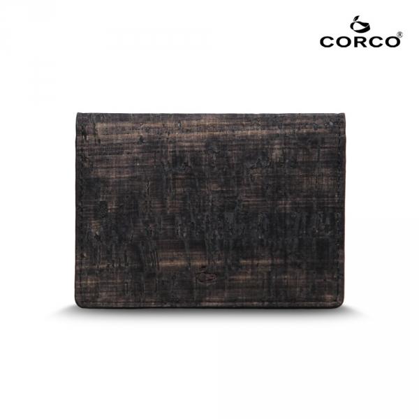 CORCO 雙摺軟木名片夾 - 復古黑 軟木,韓國,環保