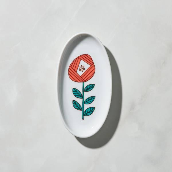 日本晴九谷燒 - 花語橢圓小盤 - 纁紅 ★ 全部日本原裝精緻禮盒,送禮適宜