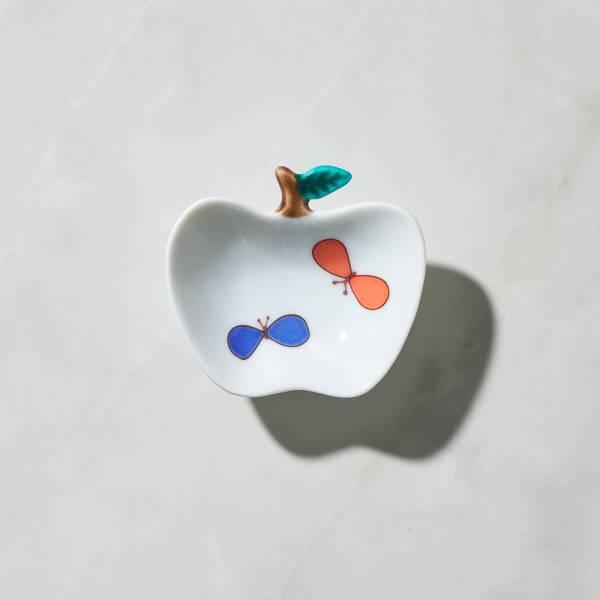日本晴九谷燒 - 蘋果小盤 - 彩蝶 ★ 全部日本原裝精緻禮盒,送禮適宜