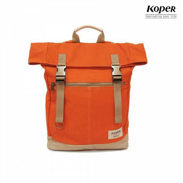 KOPER  不平帆系列-復古雙釦後背包-焦糖橘 後背包、台灣設計製造