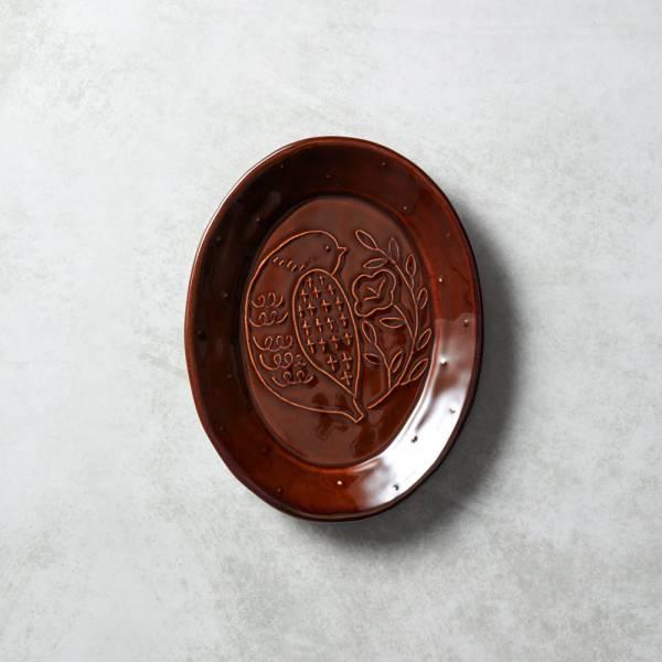石丸波佐見燒 - 森之歌橢圓鳥盤 - 樹咖 日本,職人,手製,手做,手作,波佐見燒,人氣,禮品,禮物,療癒,食器,餐具,盤,原裝,收藏,質感
