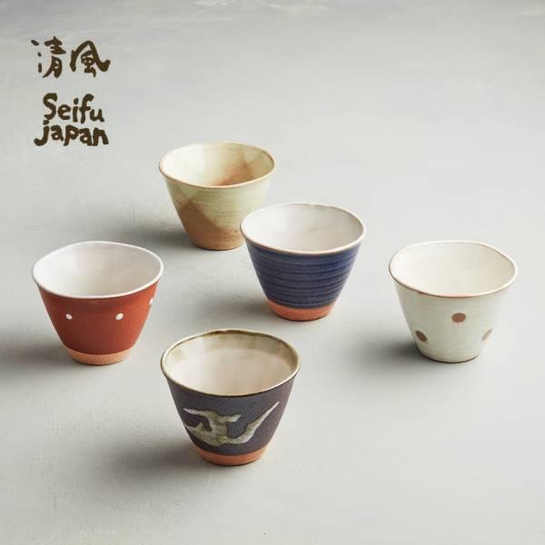 日本AWASAKA美濃燒- 古窯釉彩陶杯組 (5件式)   日本,湯碗,造型碗,茶杯,水杯,茶碗