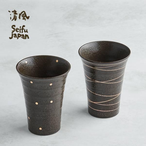 日本AWASAKA美濃燒- 手描燙金燒酒陶杯組 (2件式) 日本,陶杯,酒杯,茶杯,水杯