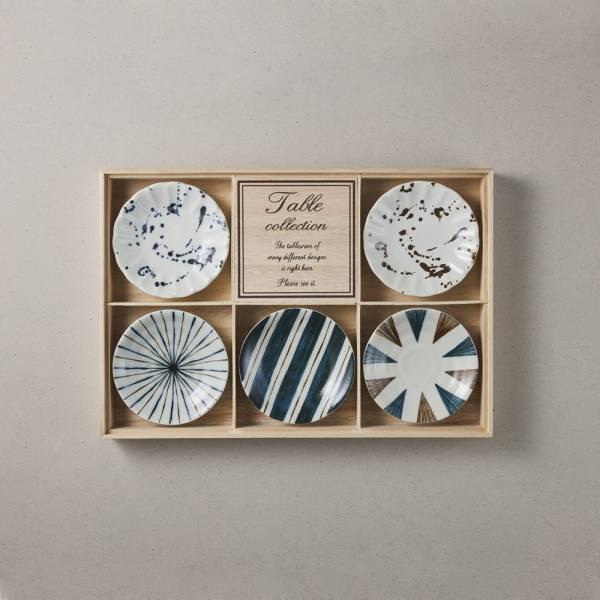 日本美濃燒 - 釉彩墨紋小盤禮盒組 (5件式) ★ 高質感、安心無毒,日常食器首選