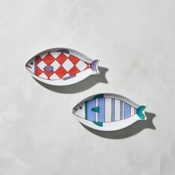 日本晴九谷燒 - 魚小盤(2件組) ★ 全部日本原裝精緻禮盒,送禮適宜
