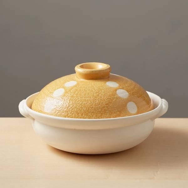 日本萬古燒-輕量土鍋8號-點點橘(1.6L) 日本,原裝進口,陶鍋,土鍋,主婦必備,直火,遠紅外線,保留原味,多用,蓄熱,節能