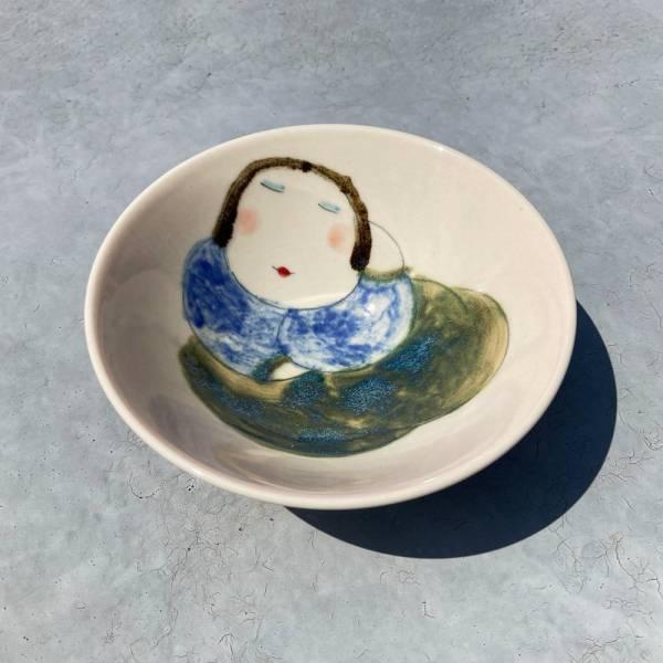 吳仲宗|胖太太系列 - 日本碗 - 藍悠悠    陶藝;飯碗;湯碗;手繪;三芝藝術家