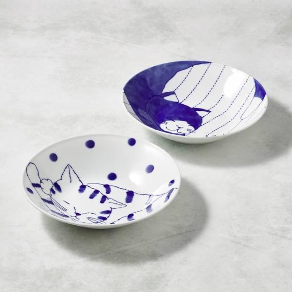 日本澤藍美濃燒 - 仲良貓友大圓盤-禮盒組(2件式)  陶杯,日本製,食器,手工,檢驗合格,貓