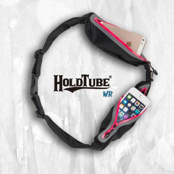 HOLDTUBE 運動腰帶-防潑水雙口袋-黑粉 運動腰帶、水瓶袋、時尚單品、運動配件