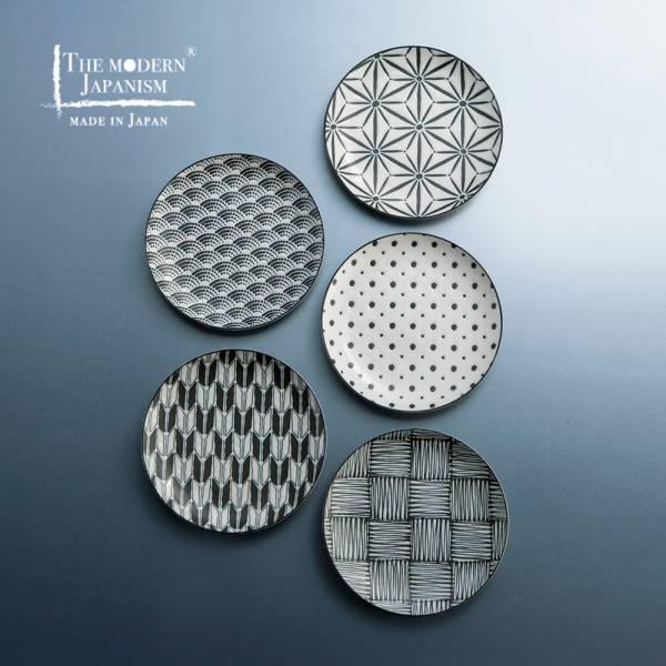 日本AWASAKA美濃燒- 小紋麵包盤組-禮盒組 (5件式) 日本,盤,餐具組