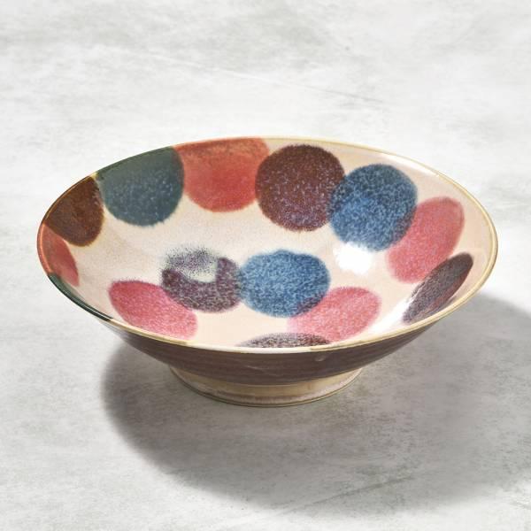 日本AWASAKA美濃燒- 筆青釉繪沙拉碗 - 粉點打 ★ 多用大容量,沙拉丼飯湯類都適合