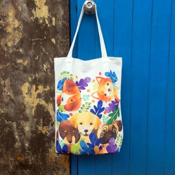 剪刀兔本鋪–雙面帆布袋–走吧狗兒們 設計包、肩背包、環保袋、隨身包