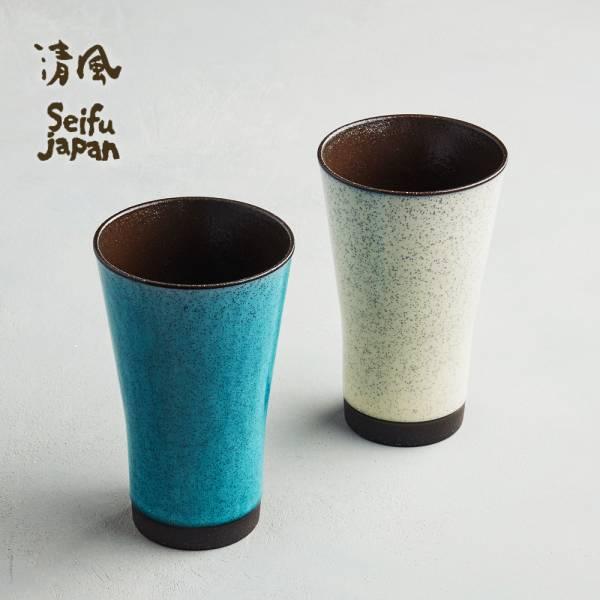 日本AWASAKA美濃燒- 清風沫雪長陶杯組 (2件式) 日本,陶杯,啤酒杯,酒杯,茶杯,水杯