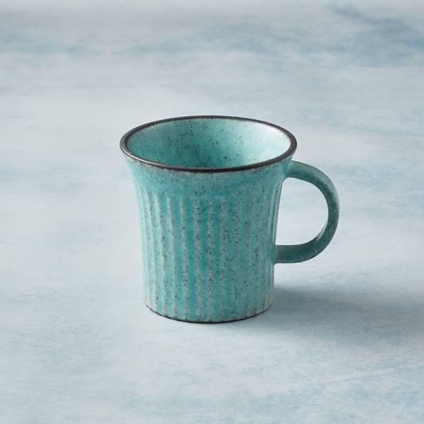 日本KOYO美濃燒 - 古典雕紋咖啡杯 - 土耳其藍 歐風,陶杯,日本製,食器,手工,檢驗合格