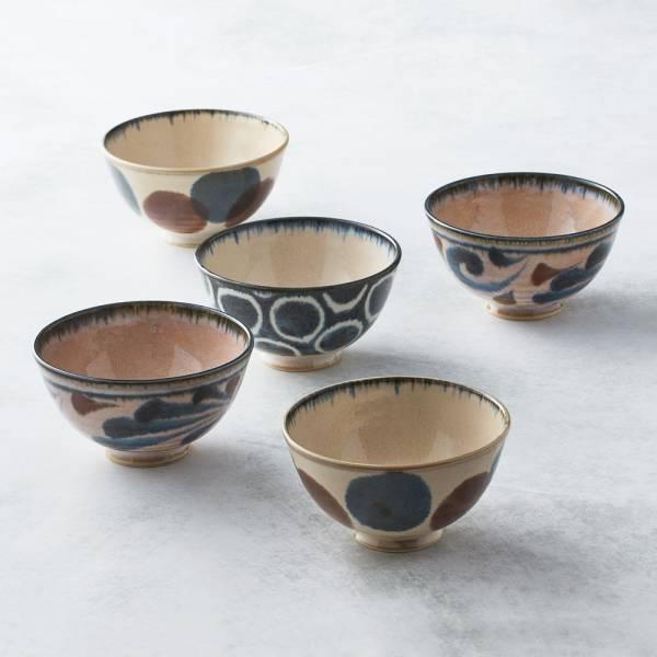 日本AWASAKA美濃燒- 筆青釉繪飯碗組(5件式) 日本,原裝進口,飯碗,湯碗