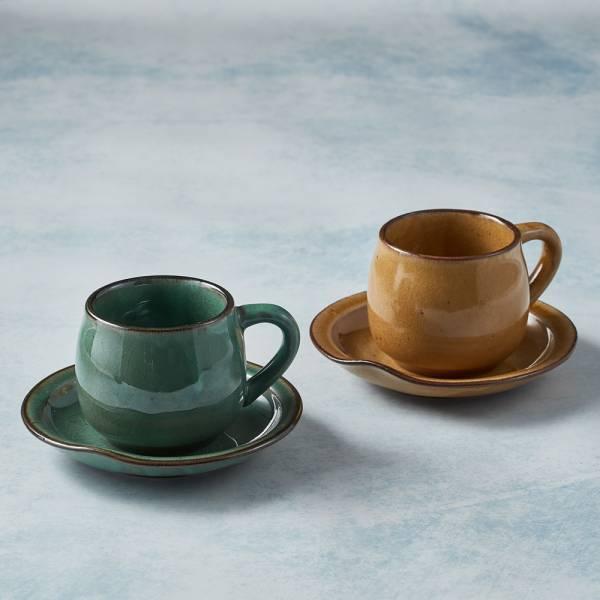 日本KOYO美濃燒 - 圓口咖啡杯碟 - 對杯組 陶杯,日本製,食器,手工,檢驗合格
