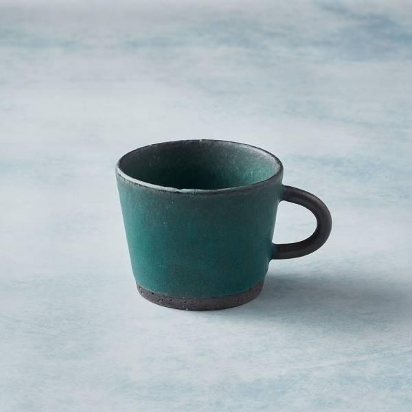 日本KOYO美濃燒 - 寬口圓柄馬克杯 - 青綠 陶杯,日本製,食器,手工,檢驗合格