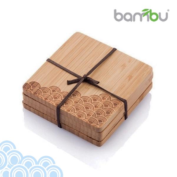 Bambu 美國天然餐具  童趣圖紋竹杯墊 - 復刻海浪(4塊組)