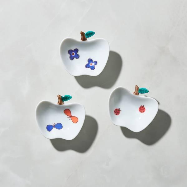 日本晴九谷燒 - 蘋果小盤(3件組) ★ 全部日本原裝精緻禮盒,送禮適宜