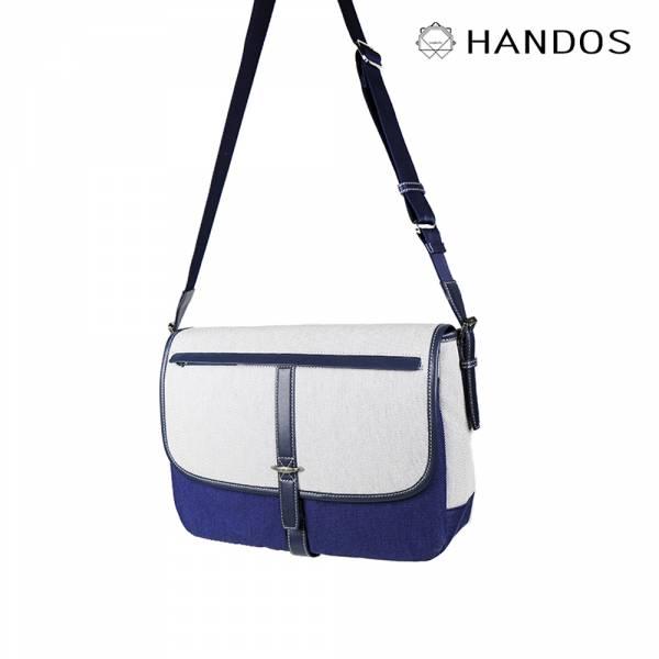 HANDOS|Jo March 雙色織線帆布書包 - 大海藍↘72折 帆布,書包,真皮,設計師,台灣設計,訂製五金,植鞣皮革