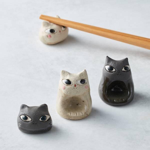 日本KOYO美濃燒 - 陶製手作筷架 - 貓咪雙件組(4選2) 貓奴,貓,日本製,食器,手工,檢驗合格