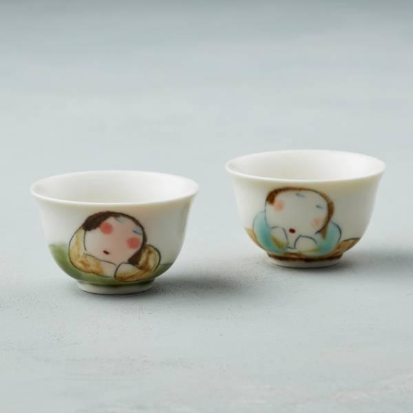 吳仲宗|胖太太系列 - 小杯 - 茶香酒詩 (雙件組) 陶瓷杯;茶杯;泡茶杯;酒杯;手繪;三芝藝術家