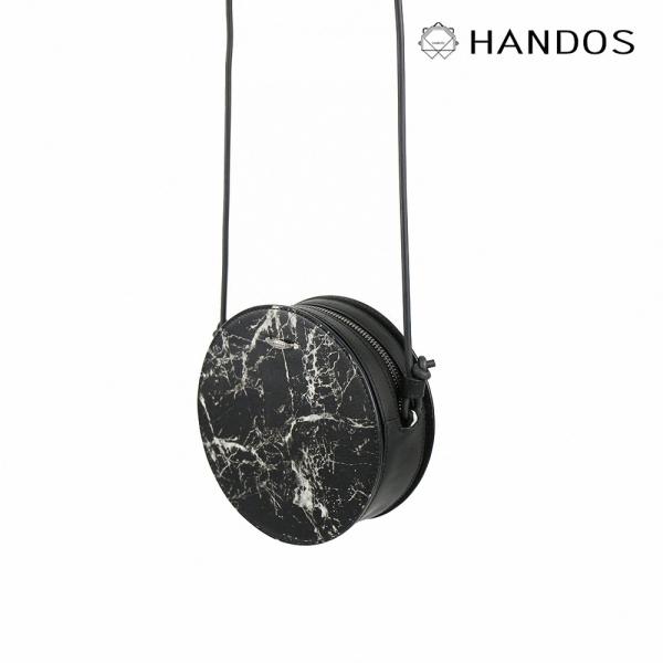 HANDOS|Marie 大理石紋皮革肩背小圓包 園包,復古,真皮,設計師,台灣設計,訂製五金,植鞣皮革