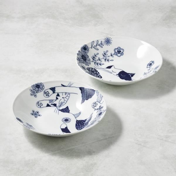 日本澤藍美濃燒 - 花園藍貓大圓盤-禮盒組(2件式) 陶杯,日本製,食器,手工,檢驗合格,貓