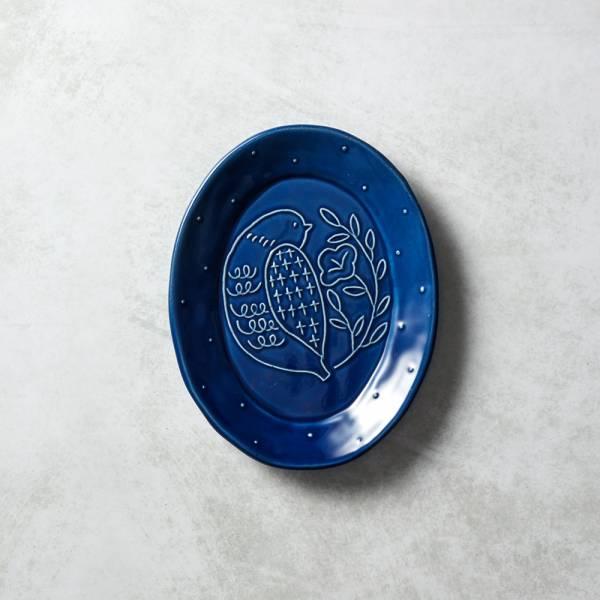 石丸波佐見燒 - 森之歌橢圓鳥盤 - 湛藍 日本,職人,手製,手做,手作,波佐見燒,人氣,禮品,禮物,療癒,食器,餐具,盤,原裝,收藏,質感