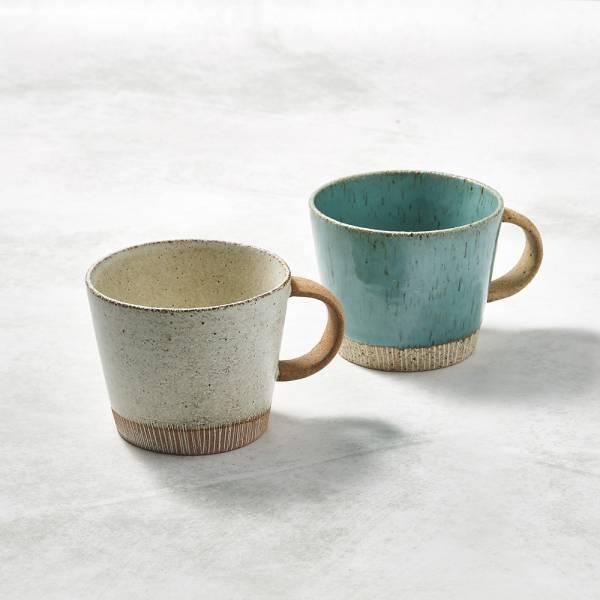 日本KOYO美濃燒- 細刻紋馬克杯 - 對杯組(2件式) ★ 日本進口品質保證,檢驗合格餐具