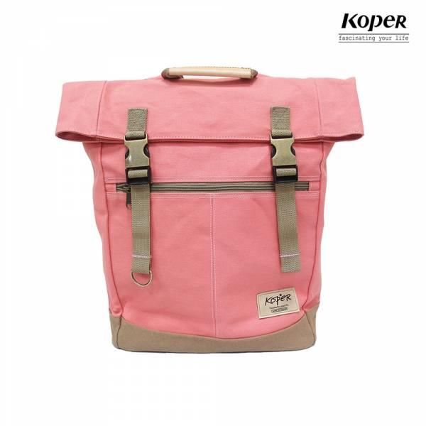 KOPER  不平帆系列-復古雙釦後背包-蜜桃紅 後背包、台灣設計製造