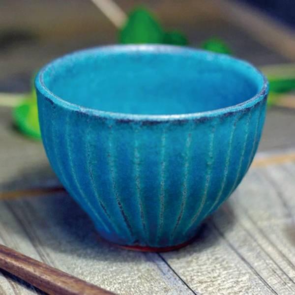日本窯元益子燒 - 青綠燻刻紋茶杯