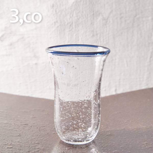【3,co】手工氣泡感玻璃杯(大) - 藍邊 茶杯,酒杯,玻璃杯,杯,擺飾,光雕,玻璃,藝術,品味,花器,當代,國際,台灣之光,台灣,原創,設計,簡約,生活美學,空間,東方意象,驚豔,精品,禮物,禮品,送禮
