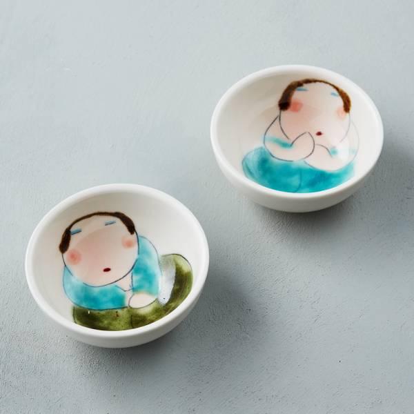 吳仲宗|胖太太系列 - 小圓杯 - 月夜薄紗藍 (雙件組) 陶藝;泡茶杯;小菜碗;醬料碟;泡麵碗;手繪;三芝藝術家