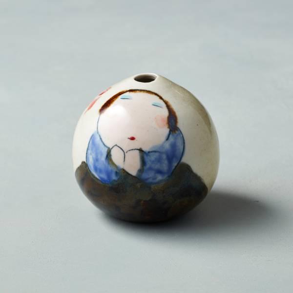吳仲宗|胖太太系列 - 手做蛋瓶 - 秋茶色 (黛藍衣)  陶瓷;花瓶;擺飾;手繪;三芝藝術家