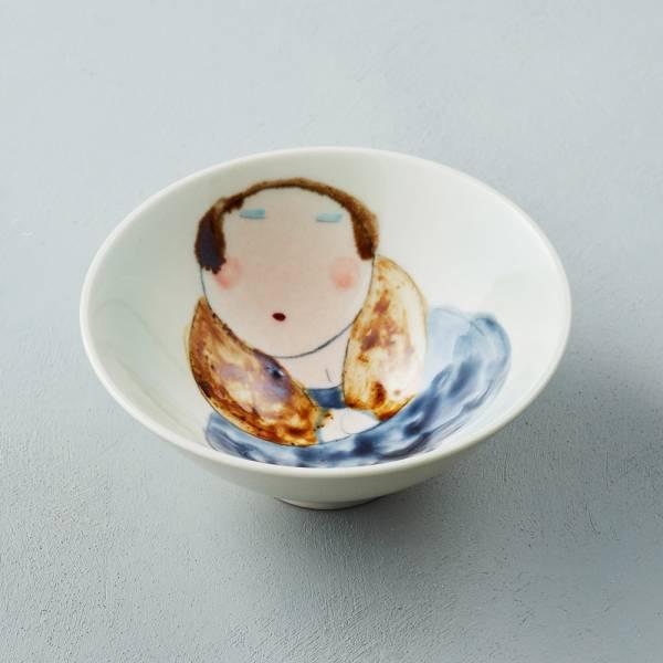 吳仲宗|胖太太系列 - 日本碗 - 淺水綠 (黛藍衣) 陶藝;飯碗;湯碗;手繪;三芝藝術家