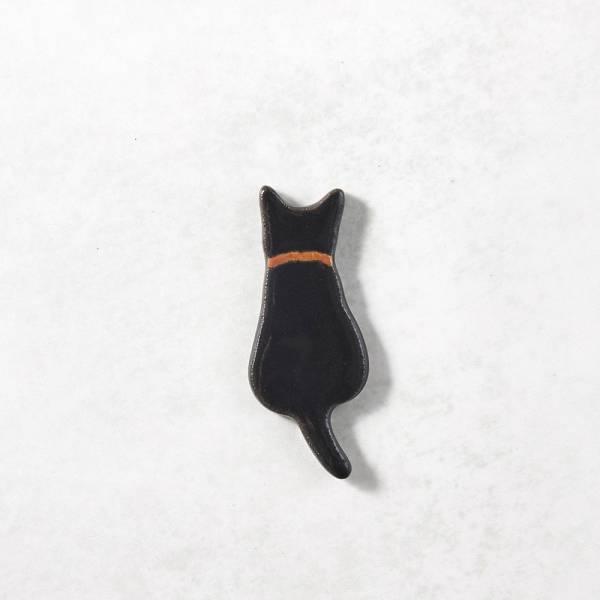 日本KOYO美濃燒- 陶製手作筷架 - 黑貓影 ★ 日本進口品質保證,檢驗合格餐具